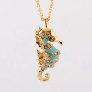 Kate Spade Golden Aqua Pavé Seahorse Necklace